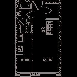 Планировка студии в Май - тип 3